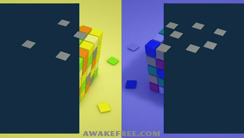 Optical Illusions Color Cubes Blue Yellow Grey