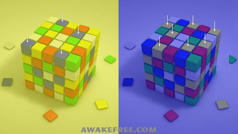 Optical Illusions Color Cubes Blue Yellow