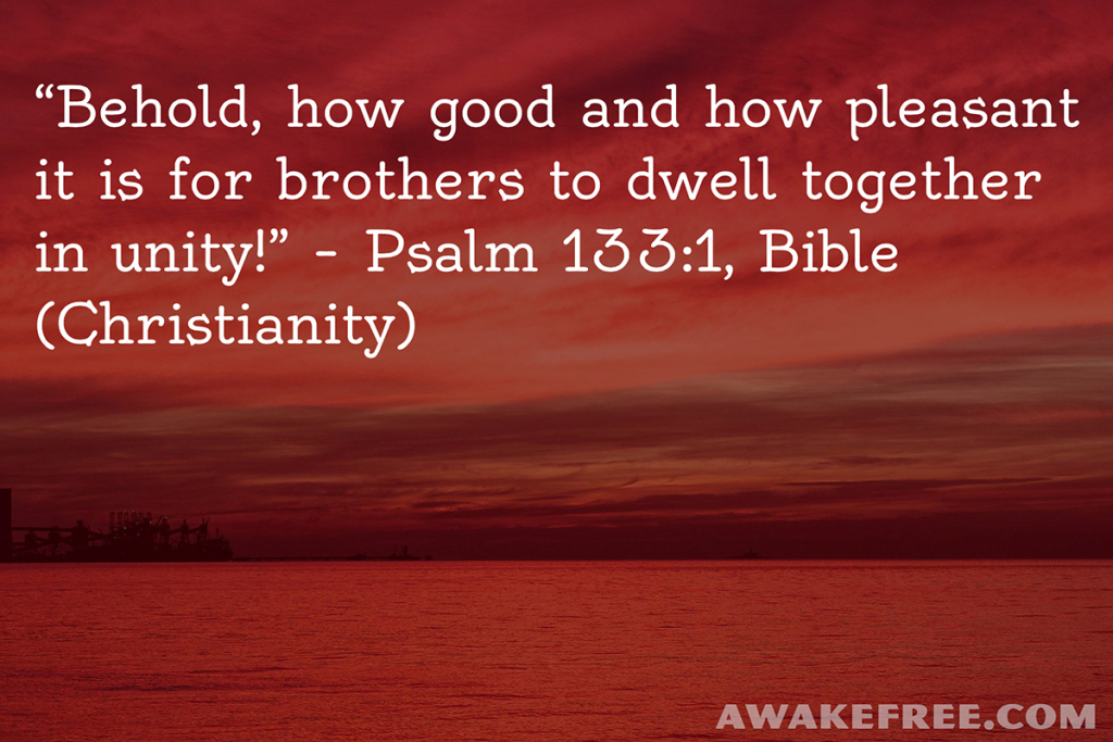 Peace-Quotes-Behold-Together-in-Unity-Psalm-Bible-Christianity-AwakeFree.com