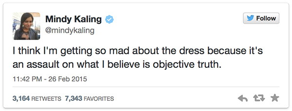#TheDress Celebrity Tweets Mindy Kaling