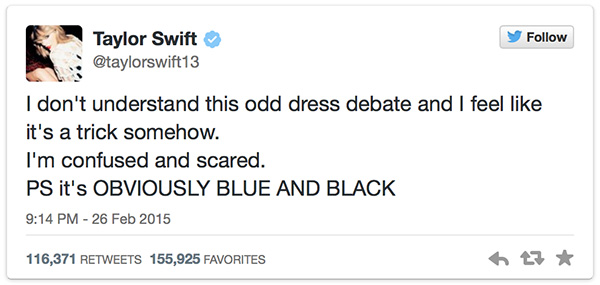 #TheDress Celebrity Tweets Taylor Swift